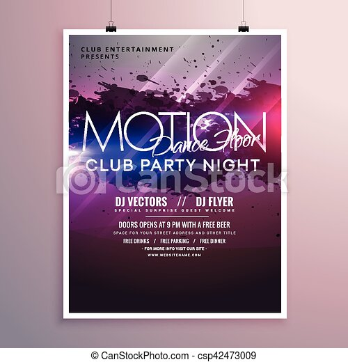 abstract dance music party flyer template with ink splash - csp42473009