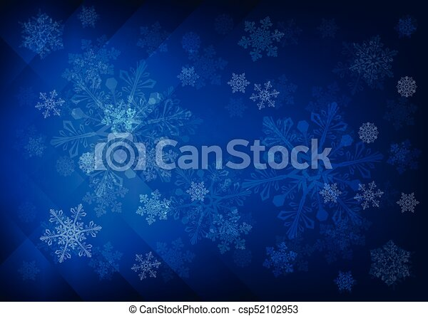 Abstract dark blue background with snowflakes - csp52102953