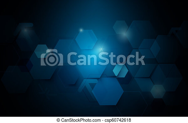 Abstract dark blue geometric hexagon Futuristic concept background - csp60742618