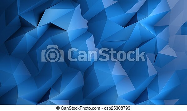 Abstract dark blue low poly background - csp25308793