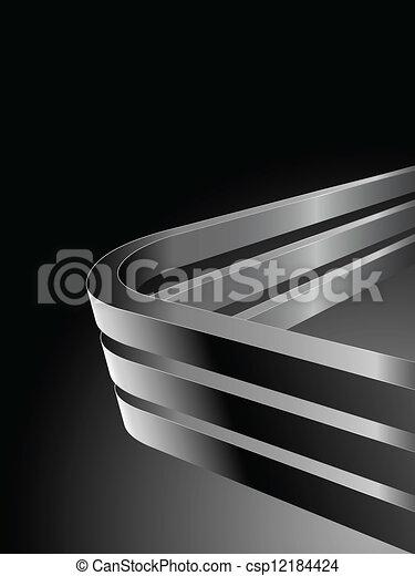 Abstract dark vector background with bent 3D steel bars - csp12184424