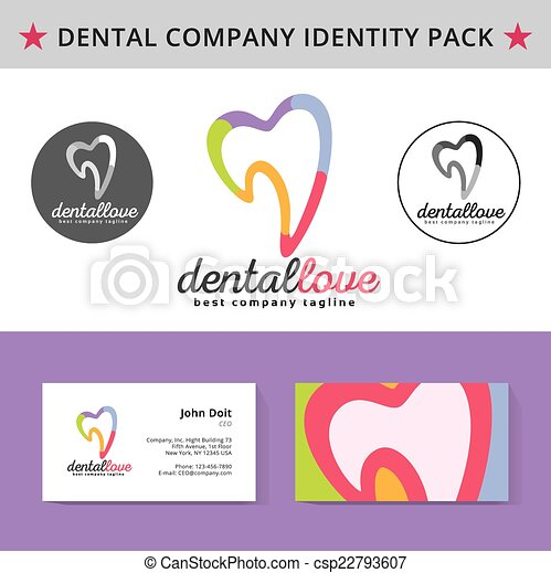Abstract dentist tooth identity pack vector concept. Logo, vizit cards, and other id blanks. Good for company branding set. - csp22793607
