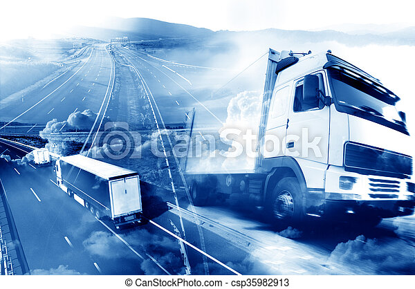 Abstract Design international shipment and highway - csp35982913