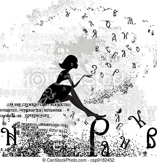 abstract design with a girl grunge text - csp9182452