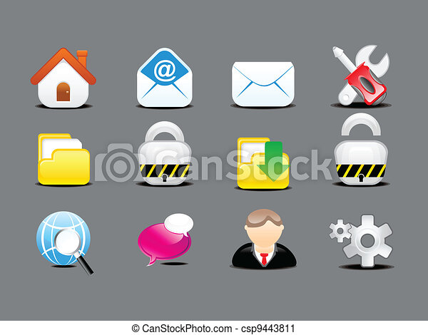 abstract detailed web icon set - csp9443811