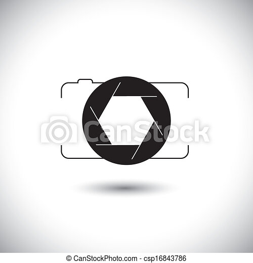 abstract digital camera & shutter icon outline front view - csp16843786