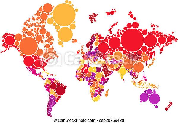 abstract dot world map, vector - csp20769428