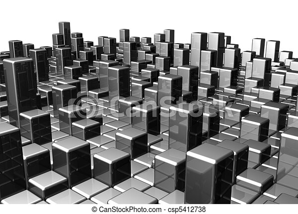 Abstract dynamic metal block backgr - csp5412738