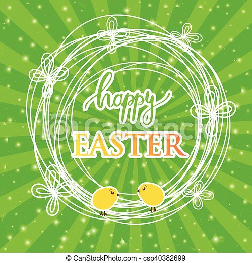 Abstract easter card with a cute yellow chick on green rays background, vector illustration. - csp40382699