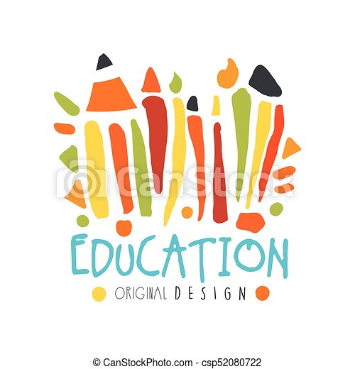 Abstract education day label concept with school supplies