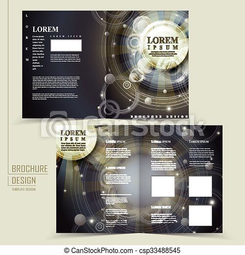 abstract egypt style design for half fold brochure template
