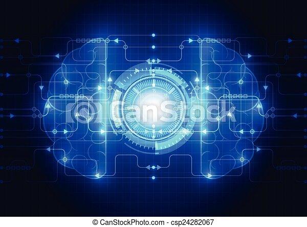 Abstract electric circuit digital brain,technology concept vector - csp24282067
