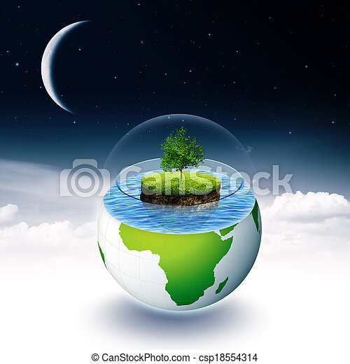 Abstract environmental backgrounds with Earth island and tree - csp18554314