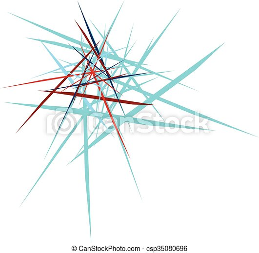 abstract explosion design blue and red on white background - csp35080696