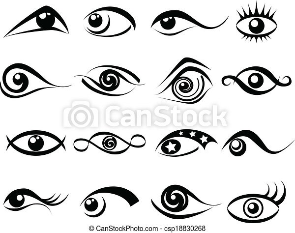 Abstract Eye Symbol Set Abstract Black Eye Symbol And Icon Set