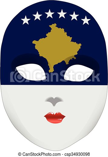 Abstract face mask with the flag of Kosovo - csp34930098