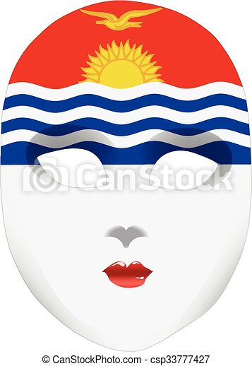 Abstract face mask with the flag of Kiribati - csp33777427
