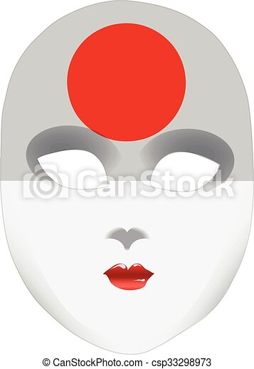 Abstract face mask with the flag of Japan - csp33298973