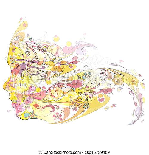 Abstract face. Vector design.  - csp16739489