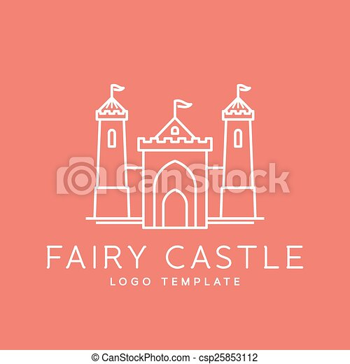 Abstract Fairy Tale Castle Line Style Vector Logo Template - csp25853112