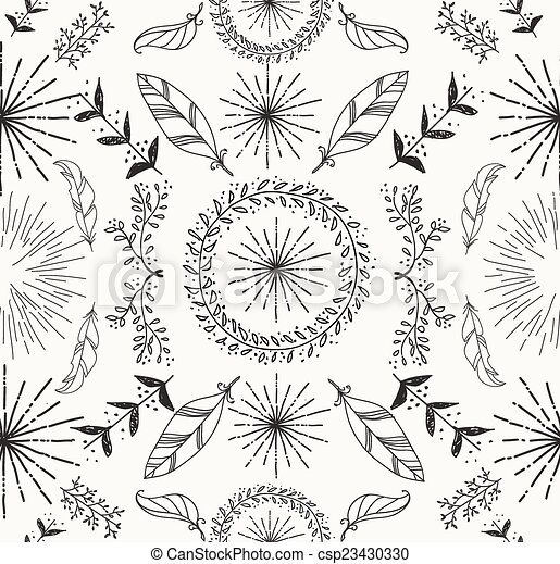 Abstract feather and floral seamless pattern - csp23430330