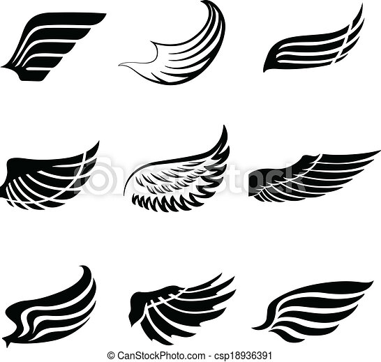aa819310c Abstract feather wings icons set. Abstract feather angel or bird ...