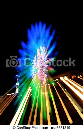 Abstract Ferris Wheel Blue Zoom Blur - csp6681319