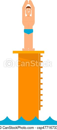 Abstract figure of a man preparing to jump into the water from the tower. Athlete before jumping into the pool. Competition in diving. Vector illustration - csp47716733