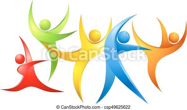 abstract, figuren, kleurrijke, dancing - csp49625622