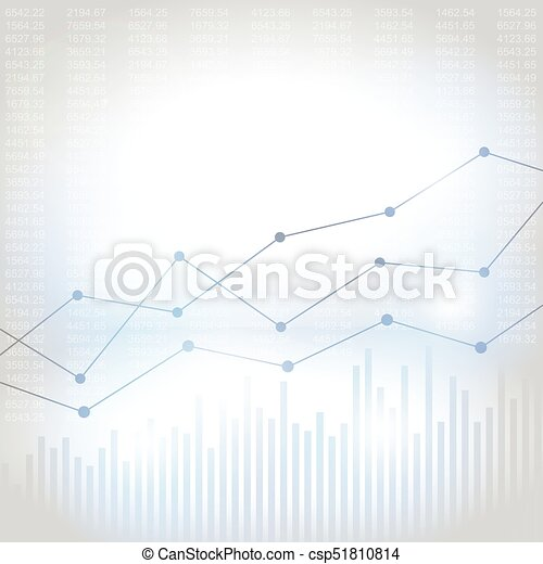 Abstract financial chart with uptrend line graph - csp51810814