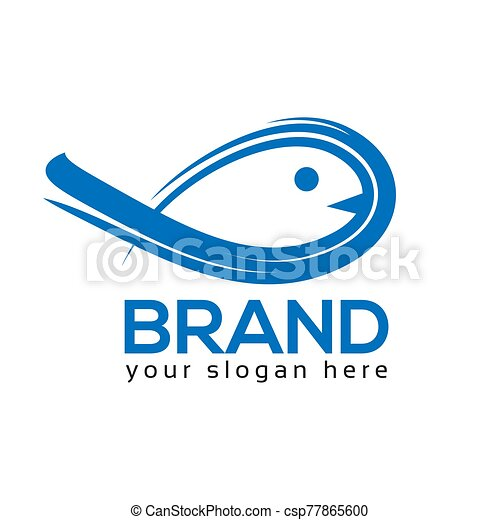 Abstract Fish logo, flat design. Vector Illustration on white background - csp77865600
