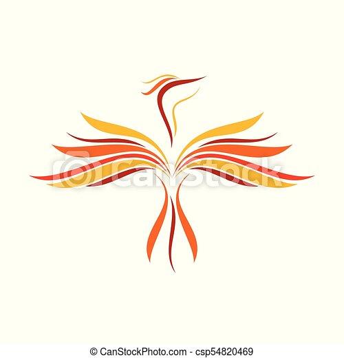 Abstract Flame Flying Phoenix Line Art Symbol