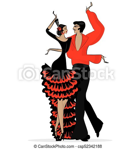 abstract flamenco couple in black red - csp52342188