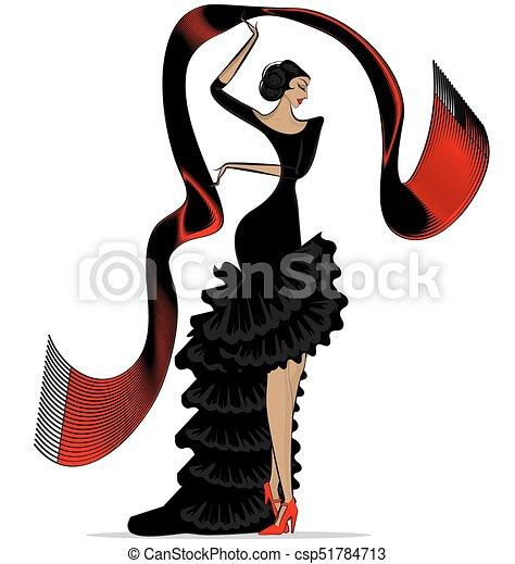 abstract flamenco with scarf - csp51784713