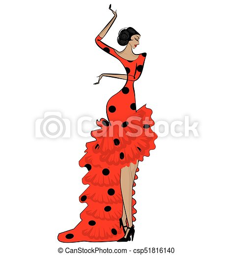 abstract flamenco woman in black and red - csp51816140