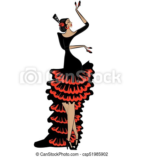abstract flamenco woman in black red - csp51985902