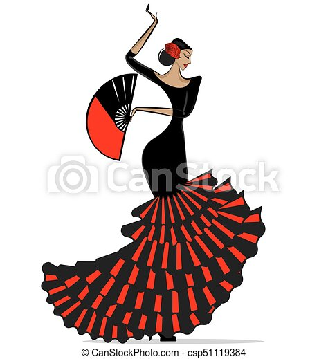 abstract flamenro girl in black and red - csp51119384