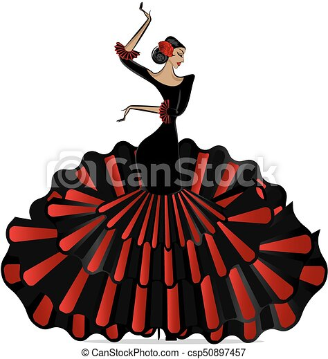 abstract flamenro girl in dance - csp50897457
