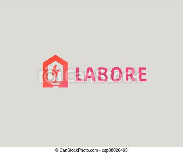 Abstract Flash House Logo Design Template Universal Home Smart Idea Icon Bulb Negative Space Vector Logotype