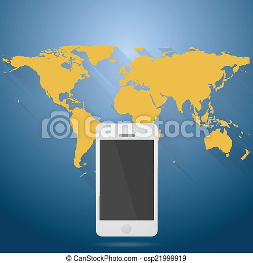 Abstract flat world map with mobile phone vector design abstract flat world map with mobile phone csp21999919 gumiabroncs Choice Image