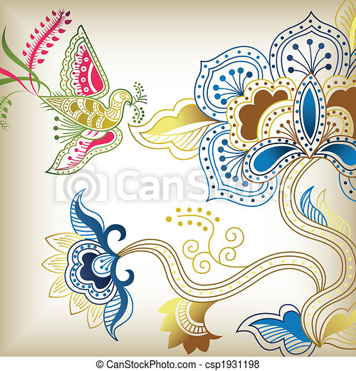 Abstract Floral and Bird - csp1931198