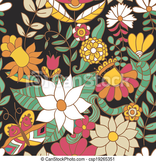 Abstract Floral Background Summer Theme Seamless Pattern Vector Wallpaper Texture Wrapping