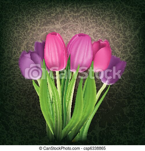 abstract floral background with tulips - csp6338865