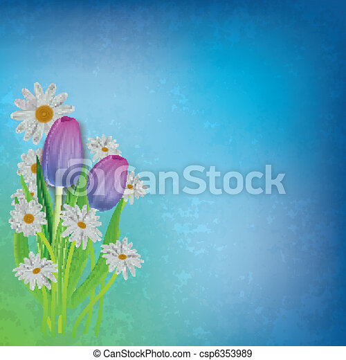 abstract floral background with tulips and chamomiles - csp6353989