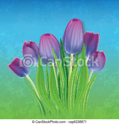 abstract floral background with tulips - csp6338871