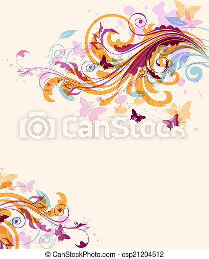Abstract floral background with butterflies - csp21204512
