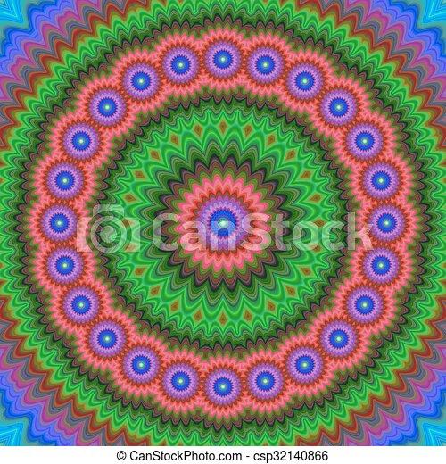 Abstract floral fractal mandala design background - csp32140866