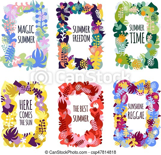 Abstract floral frames. Bright floral summer frames set decorated ...