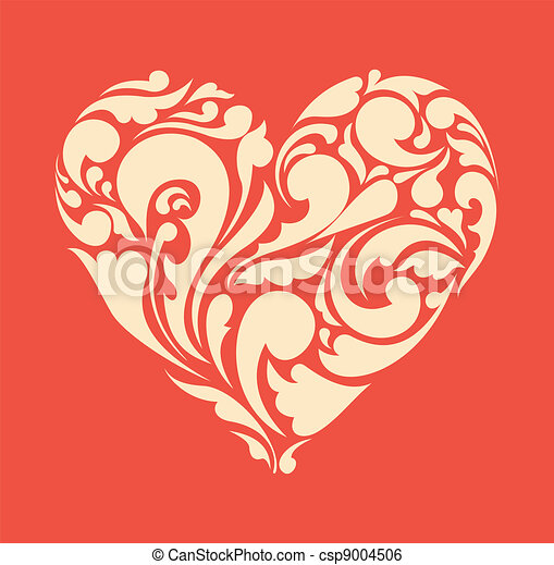 abstract floral heart. love concept. Retro poster - csp9004506
