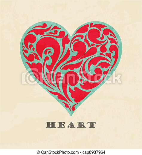 abstract floral heart. love concept.  Retro poster - csp8937964